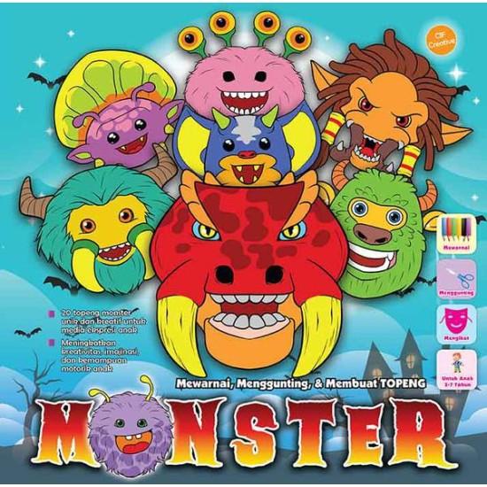 Mewarnai, Menggunting, & Membuat Topeng Monster